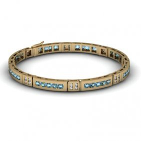 Topaz 2.56 Ctw & Diamond Bracelet 14kt W OR Y Gold