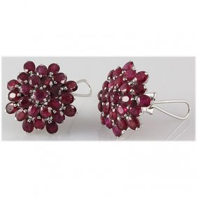 Ruby 30.00 Ctw Flower Design Earring 0.925 Silver