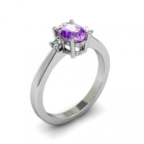 Amethyst 0.85 Ctw Diamond Ring 14kt White Gold