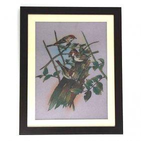 """24 1/2"""" X 30 1/2"""" Playful 3 Birds Gemstone Painting W/"""