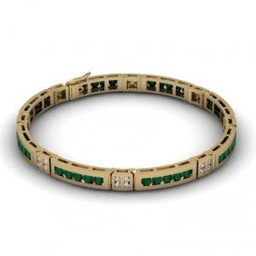 Emerald 2.56 Ctw & Diamond Bracelet 14kt W OR Y Gold