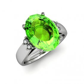 Peridot 6.00 Ctw & Diamond Ring 14kt White Gold