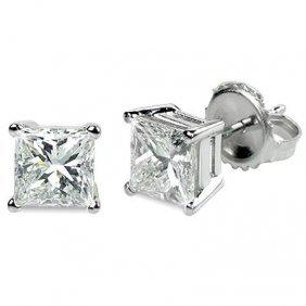 0.33 Ctw Princess Cut Diamond Stud Earrings G-H, SI2