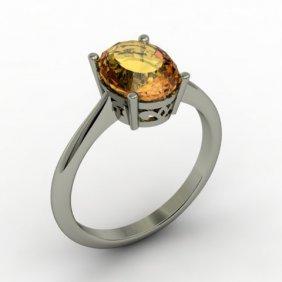 Citrine 1.75 Ctw Ring 14kt White Gold