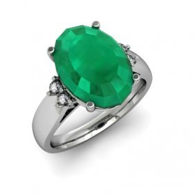 Emerald 7.50 Ctw& Diamond Ring 14kt White Gold