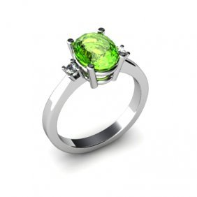 Peridot 2.00 Ctw Diamond Ring 14kt White Gold