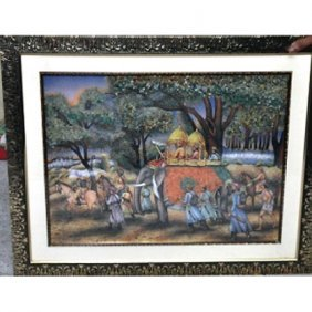 3D Indian Procession Gemstone Painting Size 24in.x30in.