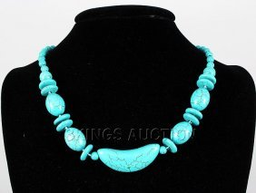 297.88CTW FASHION BEADED TURQUOISE SILVER NECKLACE