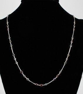 11.52CT Multi-color Sapphire Silver Bezel Necklace 6.90