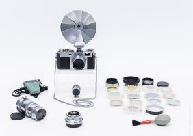 Nikon Rangefinder S2 Camera With 3 Lenses.