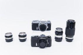 Nikomat Ft & Nikkormat Ft Cameras With 4 Lenses.