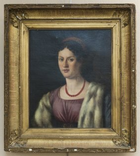 Continental School Oil On Canvas, Portrait Of A Lady.