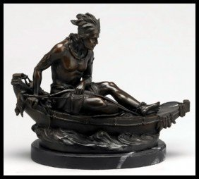 INDIAN IN CANOE - BRONZE SCULPTURE