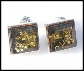 GOLDEN GREEN AMBER EARRINGS