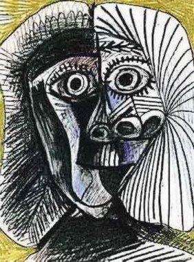 #112 BLACK AND YELLOW DRAWING PICASSO ESTATE SIGN