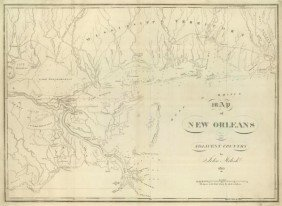 "JOHN MELISH""MAP OF NEW ORLEANS AND ADJACENT COUNTR"