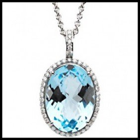 15CT SKY BLUE TOPAZ AND DIAMOND PENDANT