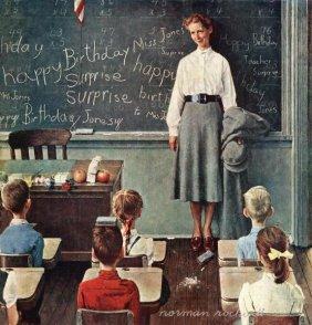 "ROCKWELL ""HAPPY BIRTHDAY MISS JONES"" ON CANVAS"