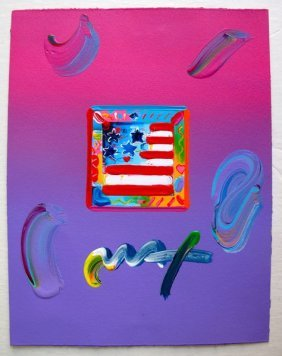 PETER MAX FLAG WITH HEARTS HAND SIGNED ORIGINAL MIX