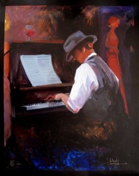 AVTANDIL PLAY ME A TUNE HAND SIGNED GICLEE CANVAS