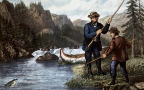 """CURRIER AND IVES  """"SALMON FISHING"""""""