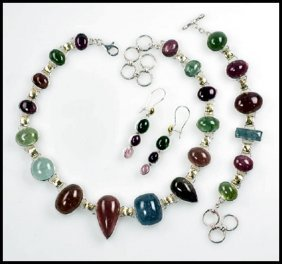 TOURMALINE NECKLACE, BRACELET AND EARRINGS, STERLI