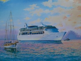 JAMES FLOOD VISION OF THE SEAS HAND SIGNED LIMITE