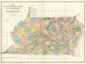 """DAVID H. BURR  """"MAP OF VIRGINIA, MARYLAND AND DEL"""