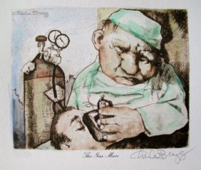 CHARLES BRAGG THE GAS MAN HAND SIGNED COLOR LITHOG