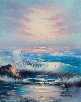 OCEAN WAVES SIGNED ORIGINAL OIL PAINTING ON CANVAS