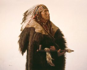 James Bama - Crow Indian With Peace Pipe