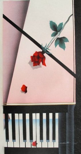 ROSE ON PIANO SIGNED ORIGINAL OIL PAINTING ON CANVA