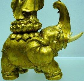IVORY AND WOOD KWANYIN RIDING ON ELEPHANT
