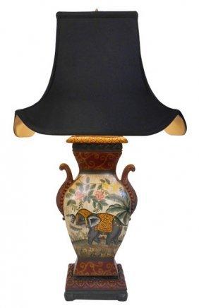 "32""h Asian Raj Ceramic Elephant Table Lamp With Pagoda"