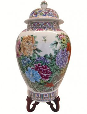 """24""""h Chinese Porcelain Floral Temple Jar In Peony"""