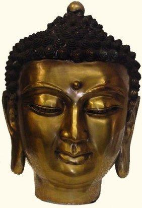Chinese Bronze Buddha Head Sculpture