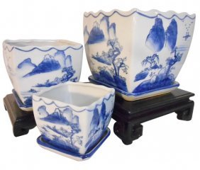 Blue And White Painted Three Piece Porcelain Planter