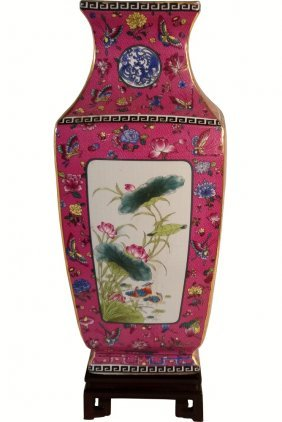 Porcelain Square Vase Glazed Bird And Flower Fuchsia