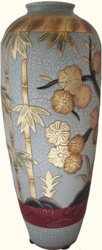 Chinese Porcelain Tulip Vase With Art Deco Bamboo &