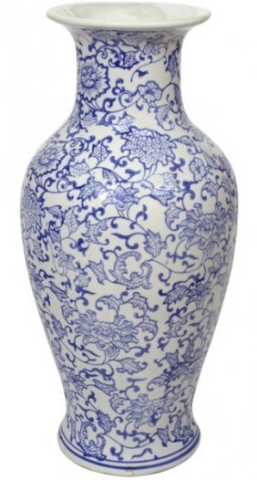 "18""h. Oriental Blue And White Porcelain Vase With Daisy"
