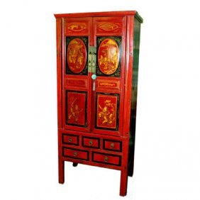 Chinese Antique Red Lacquered Carved Cabinet