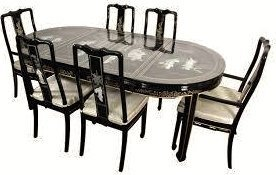 Black Lacquered With Mother Of Pearl Oriental Dining
