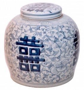 Antique Blue And White Ginger Jar