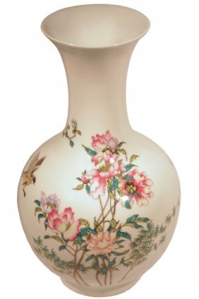Hand Painted Cherry Blossom Vase With Chinesse