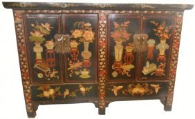 Chinese Five Legged Antique Cabinet Hand Painted