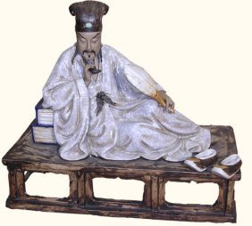 Chinese Porcelain Statue Scholar At Rest
