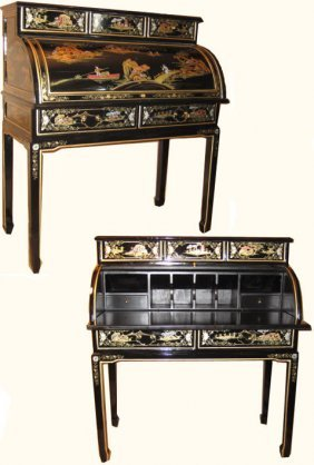 "37"" Wide Shiny Black Oriental Lacquerware Roll Top Desk"