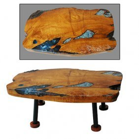Blue/wht Obsidian-teak Table