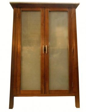 Modern Asian Influenced Glass Front Cabinet With