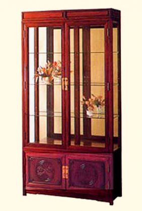 Rosewood Carved Oriental China Curio Cabinet